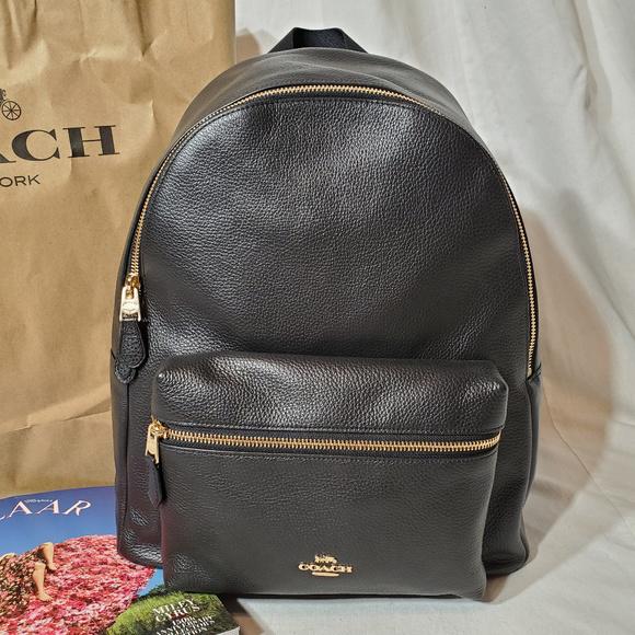 154293814 Coach Bags | Lg Black Pebble Leather Charlie Backpack Nwt | Poshmark